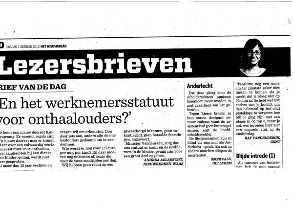 """Lezersbrief onthaalouder over werknemersstatuut """"brief van de dag"""" op het Nieuwsblad"""