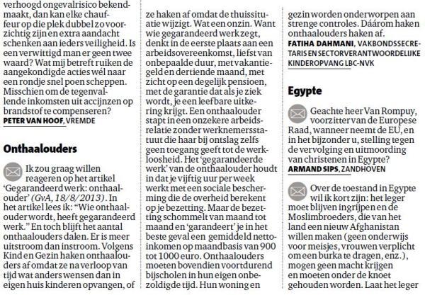 """LBC-NVK reageert op """"Gegarandeerd werk: onthaalouder"""" (Gazet van Antwerpen, 18/8)"""