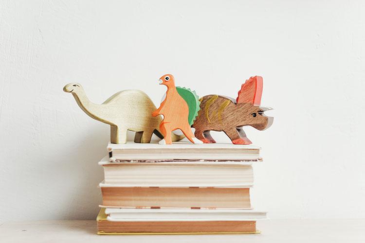 houten speelgoed dino's op boeken
